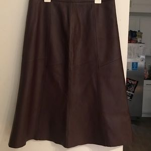 Real Brown Leather Halogen Skirt